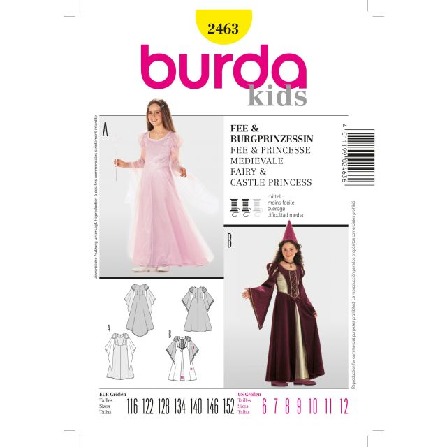 Patron Burda 2463 Fée et Princesse médiévale
