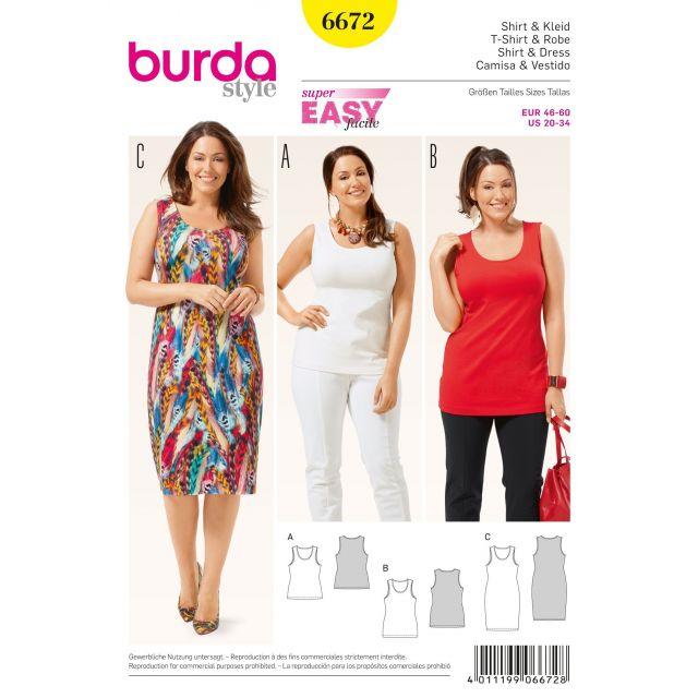 Patron Burda 6672 T-shirt et Robe