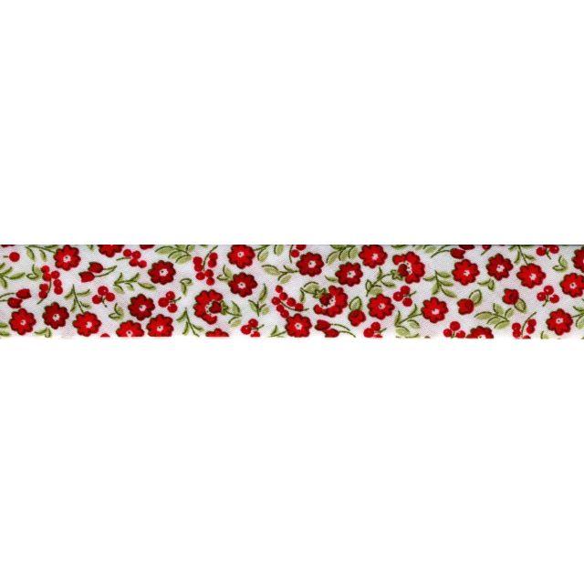 Biais 20 mm Rouge Fleurs Rouge x1m