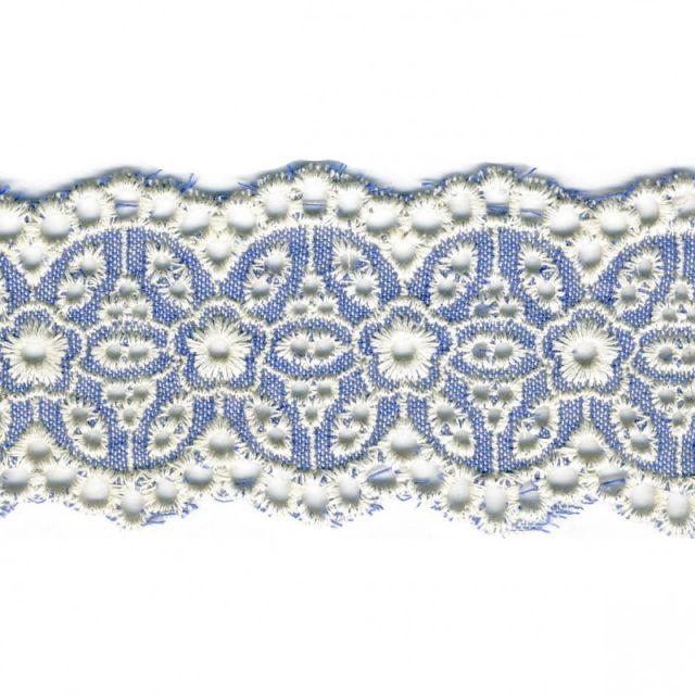 Galon Broderie Fleurs 54 mm Bleu x1m