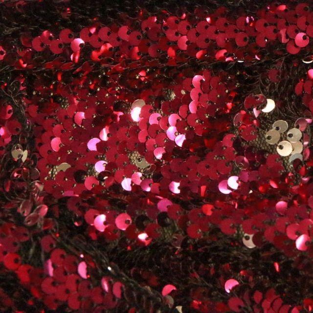 Tissu Sequins réversible argent sur fond Rose fuchsia - Par 10 cm