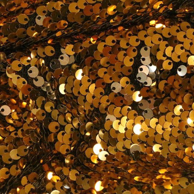 Tissu Sequins réversible argent sur fond Or - Par 10 cm