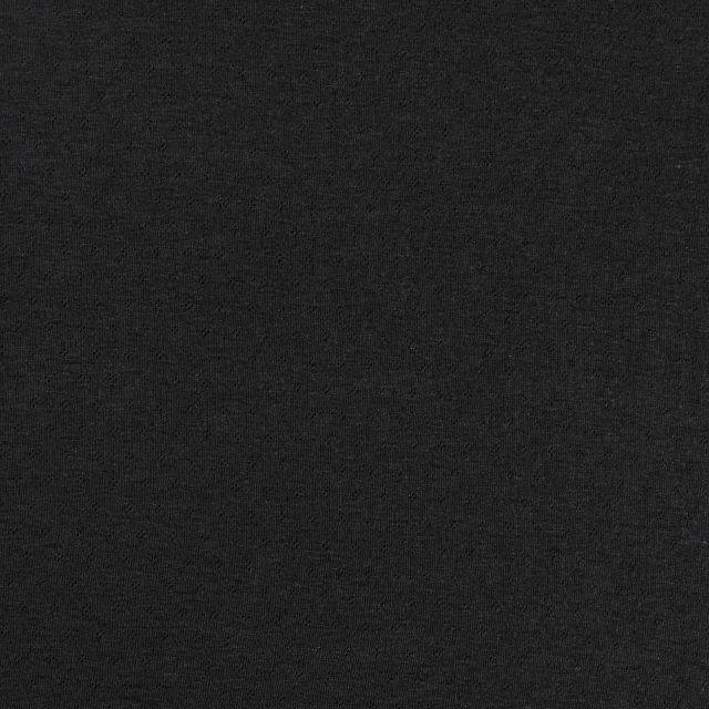 Tissu Jersey Coton ajouré Losanges Noir - Par 10 cm