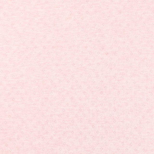 Tissu Jersey Coton ajouré Losanges Rose chiné - Par 10 cm
