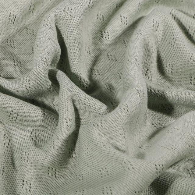 Tissu Jersey Coton ajouré Losanges Vert d'eau - Par 10 cm