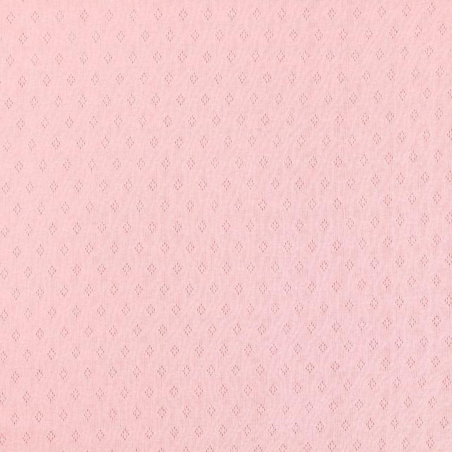 Tissu Jersey Coton ajouré Losanges Rose - Par 10 cm