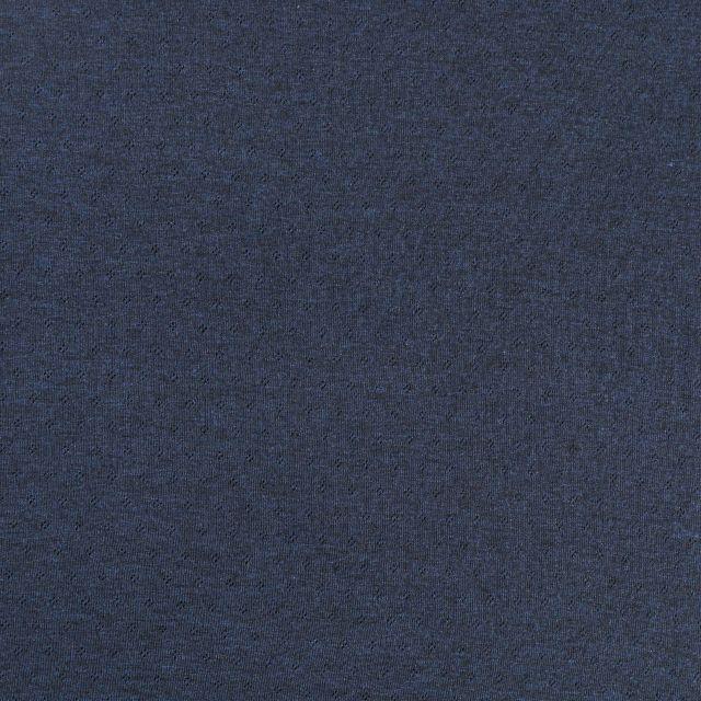 Tissu Jersey Coton ajouré Losanges Bleu indigo chiné - Par 10 cm