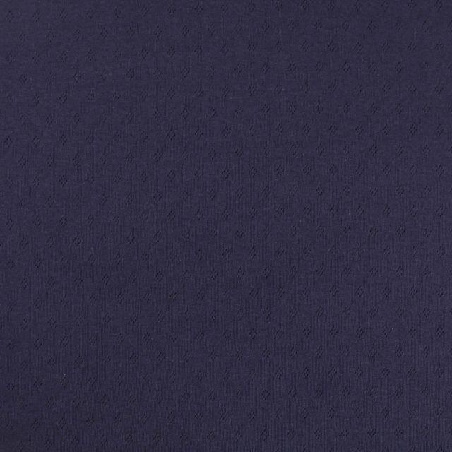Tissu Jersey Coton ajouré Losanges Bleu marine - Par 10 cm