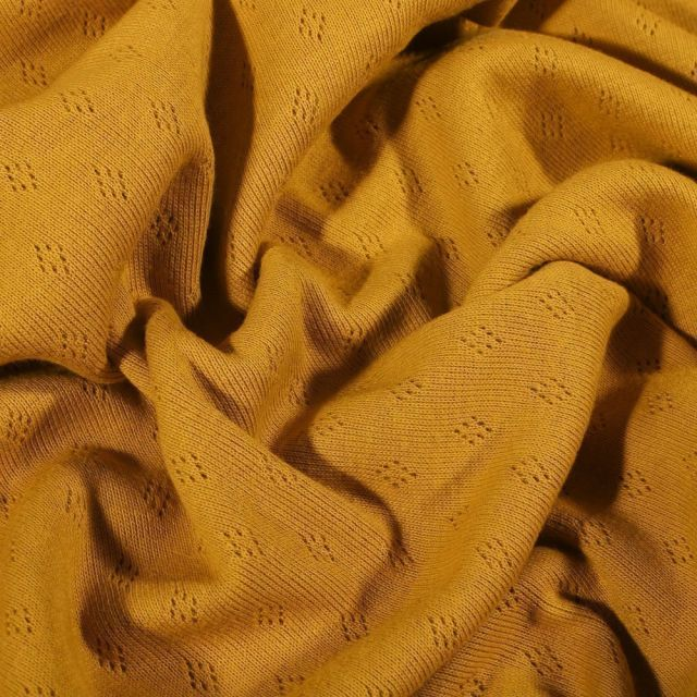 Tissu Jersey Coton ajouré Losanges Moutarde - Par 10 cm