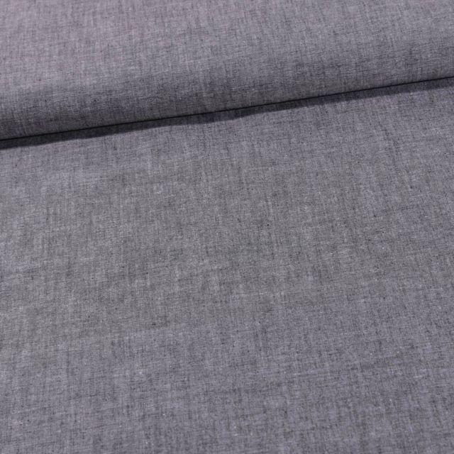 Tissu Chambray Coton uni Noir - Par 10 cm