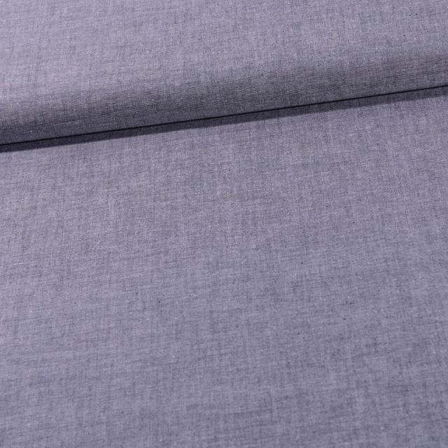 Tissu Chambray Coton uni Bleu marine - Par 10 cm