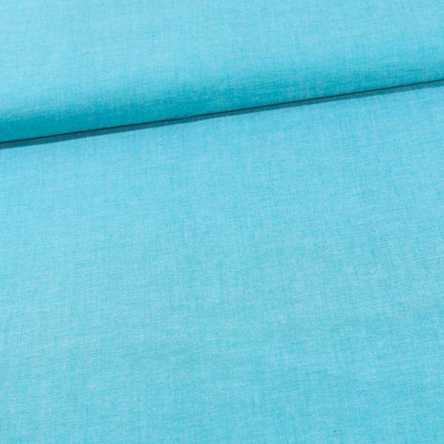 Tissu Chambray Coton uni Bleu Turquoise - Par 10 cm