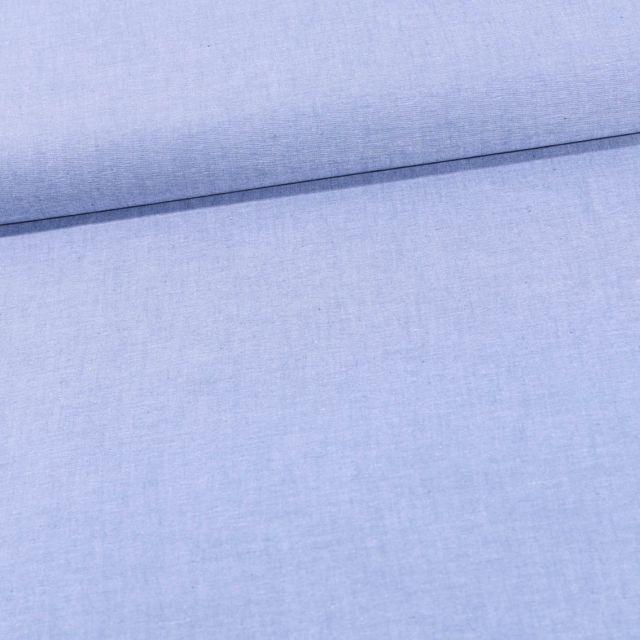 Tissu Chambray Coton uni Bleu ciel - Par 10 cm