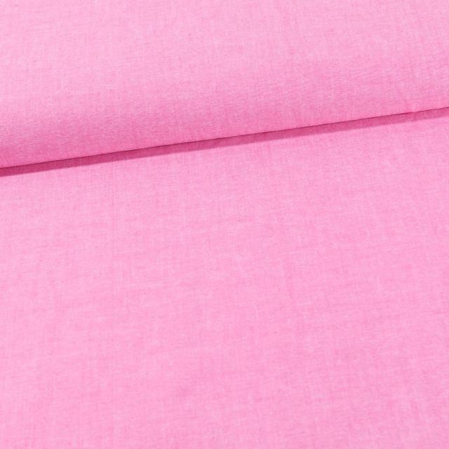 Tissu Chambray Coton uni Fuchsia - Par 10 cm