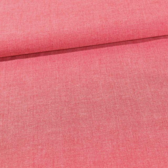 Tissu Chambray Coton uni Rouge - Par 10 cm