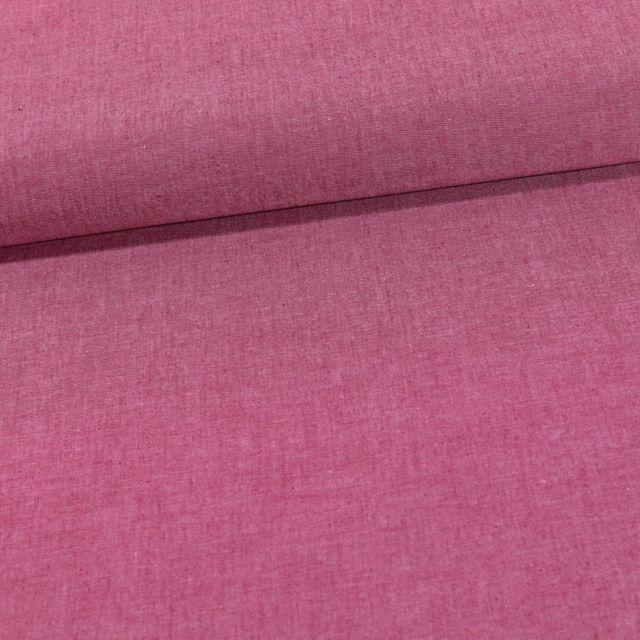 Tissu Chambray Coton uni Lie de Vin - Par 10 cm