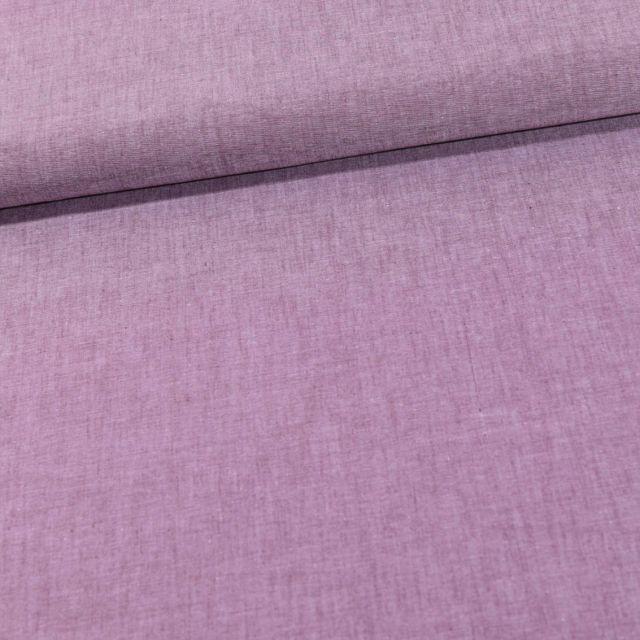 Tissu Chambray Coton uni Lilas - Par 10 cm