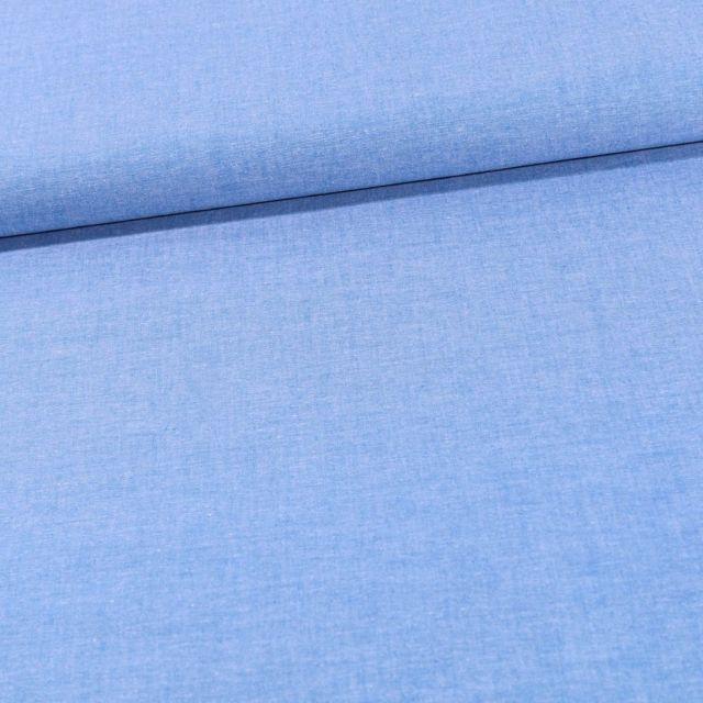 Tissu Chambray Coton uni Bleu - Par 10 cm