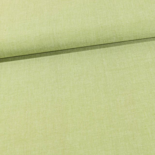 Tissu Chambray Coton uni Vert Anis - Par 10 cm