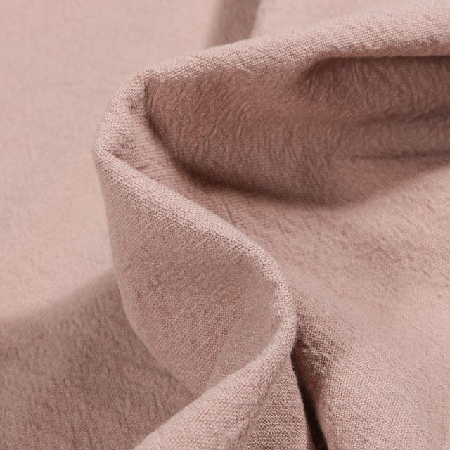 Tissu Coton lavé uni Elsa Taupe