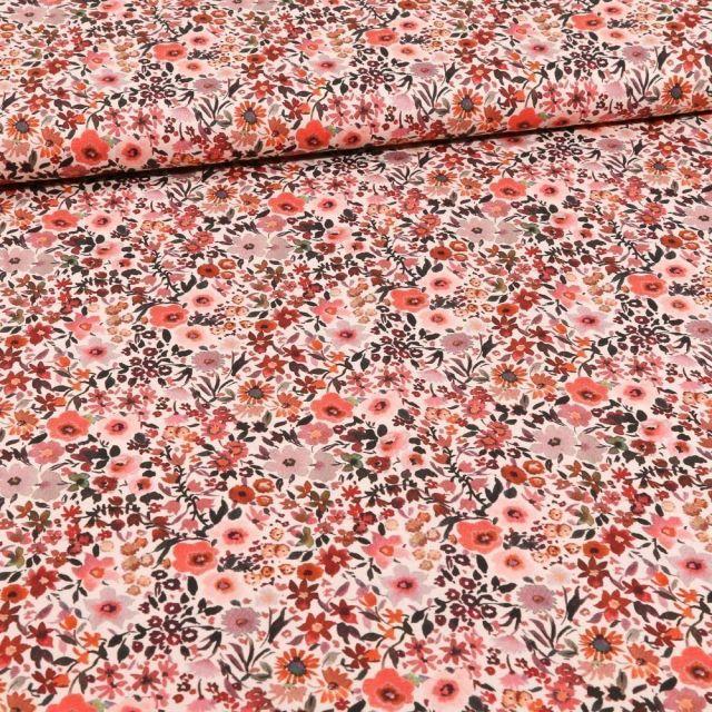 Tissu Coton imprimé Pâquerettes rose sur fond Blanc - Par 10 cm