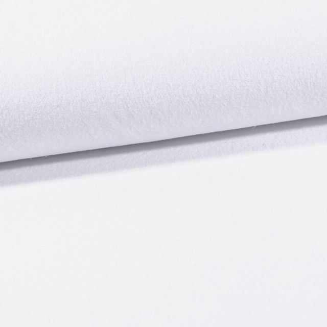 Tissu Jersey Velours Eponge Blanc - Par 10 cm