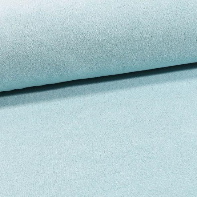 Tissu Jersey Velours Eponge Bleu ciel - Par 10 cm
