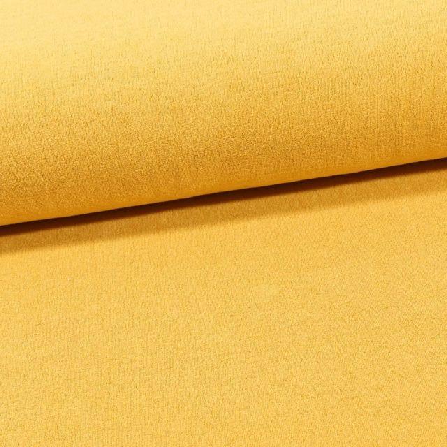 Tissu Jersey Velours Eponge Jaune - Par 10 cm