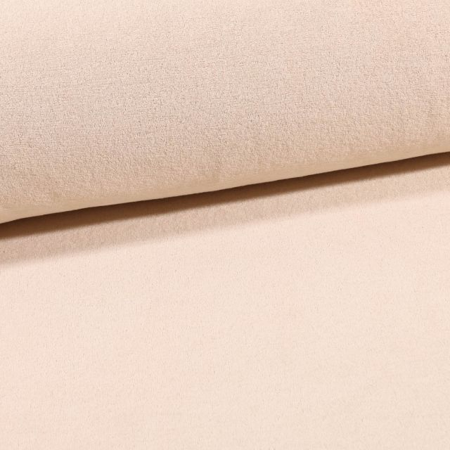 Tissu Jersey Velours Eponge Beige - Par 10 cm
