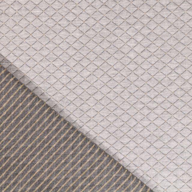 Tissu Sweat matelassé Lurex Losanges Doré sur fond Gris - Par 10 cm