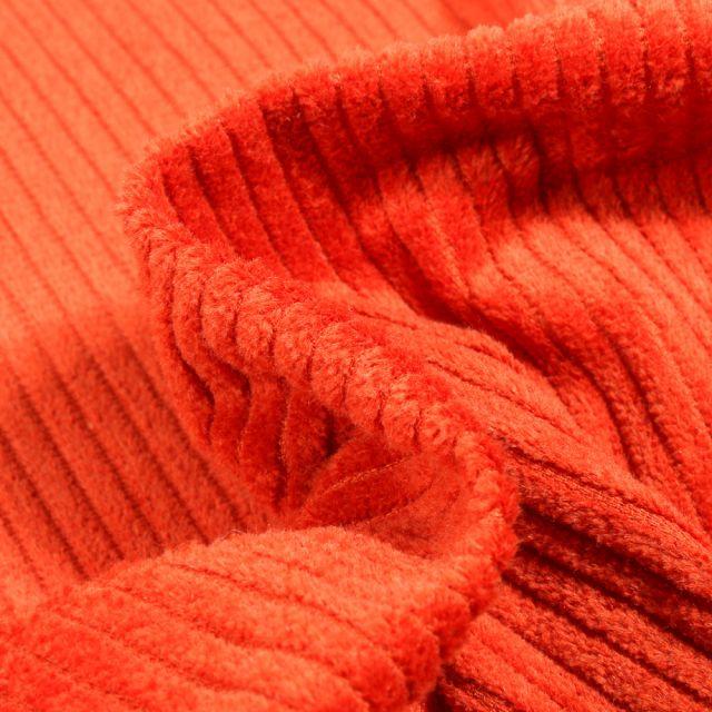 Tissu Velours Grosses côtes Orange