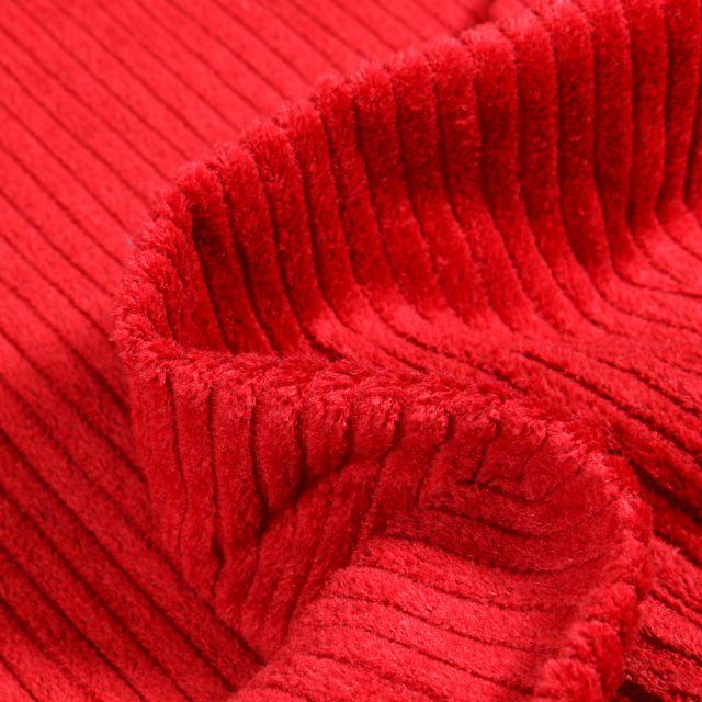Tissu Velours Grosses côtes Rouge griotte