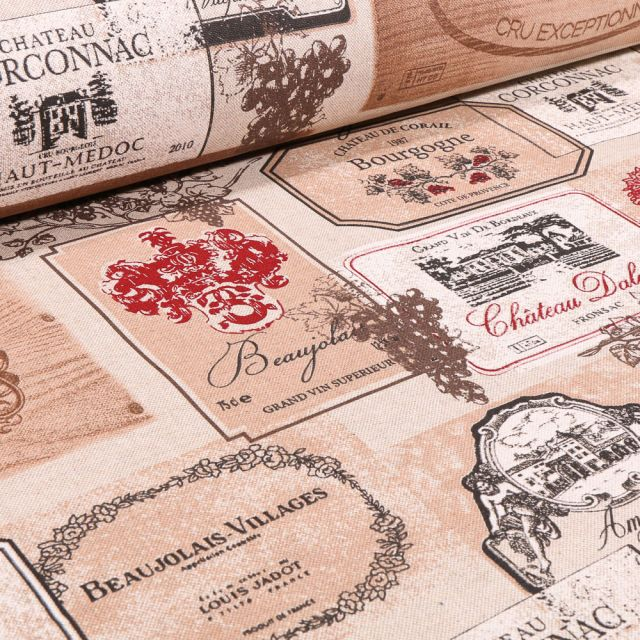 Tissu Toile de Coton Etiquettes vignobles sur fond Naturel