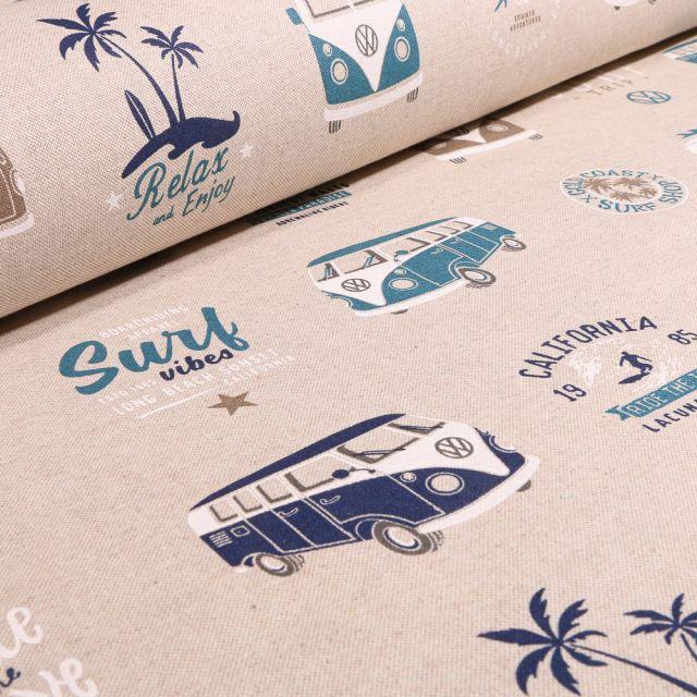 Tissu Toile de Coton Combi Volkswagen Surf Vibes sur fond Naturel