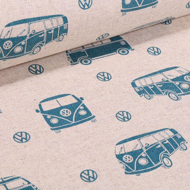 Tissu Toile de Coton Combi Volkswagen bleu sur fond Naturel