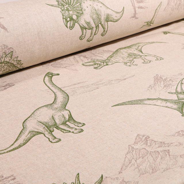 Tissu Toile de Coton Dinosaures et montagnes sur fond Naturel