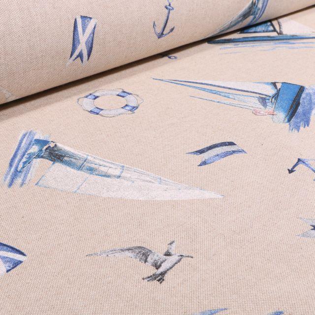 Tissu Toile de Coton Voiliers et mouettes sur fond Naturel