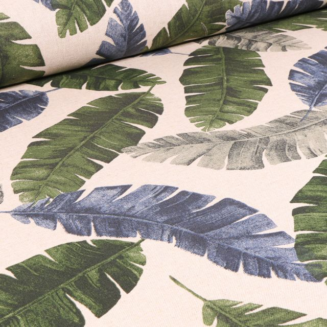 Tissu Toile de Coton Grandes feuilles sur fond Naturel