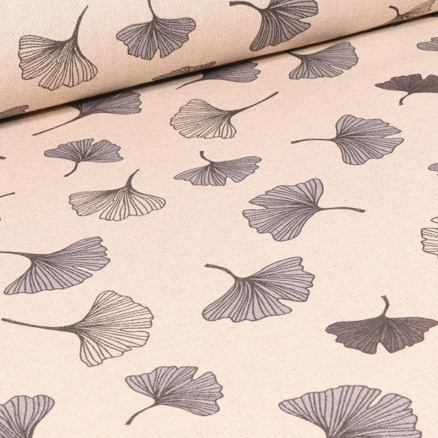 Tissu Toile de Coton Feuilles de Ginko sur fond Naturel