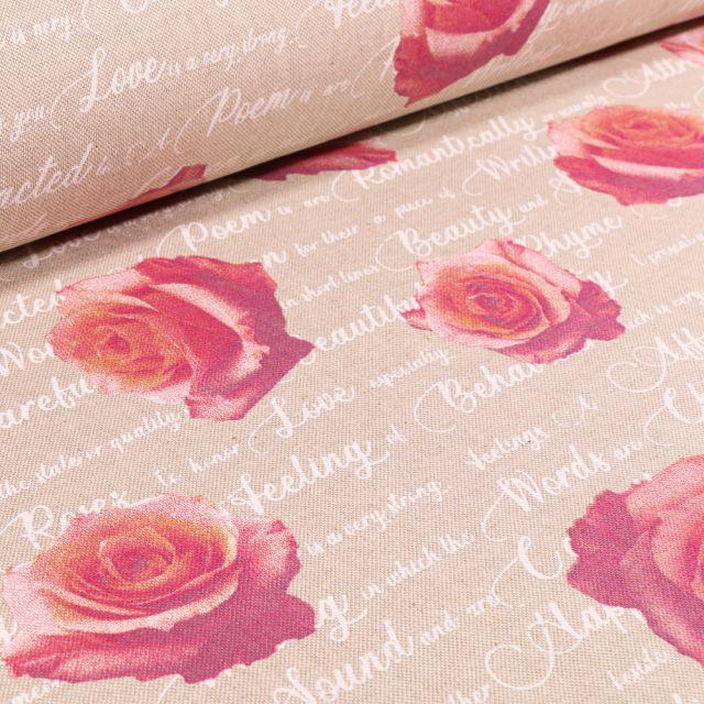 Tissu Toile de Coton Grandes Roses sur fond Naturel