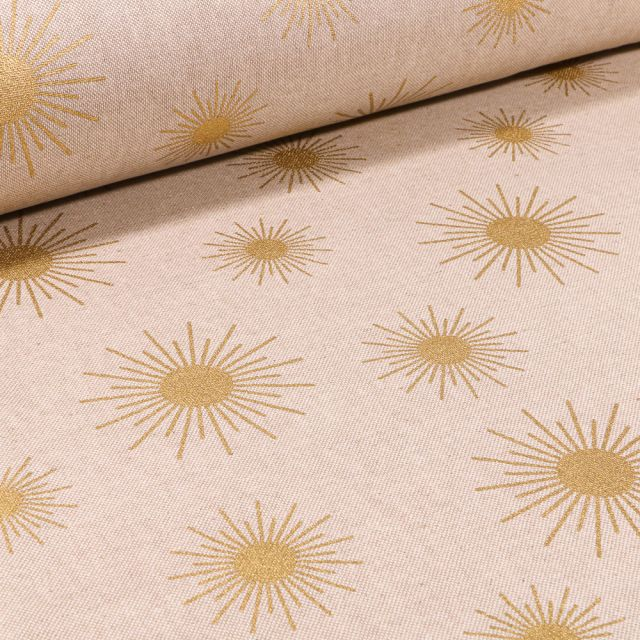 Tissu Toile de Coton Soleil brillant sur fond Naturel