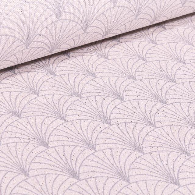 Tissu Toile Polycoton Lurex Eventails Blanc