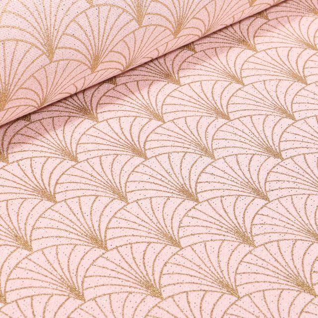 Tissu Toile Polycoton Lurex Eventails Rose