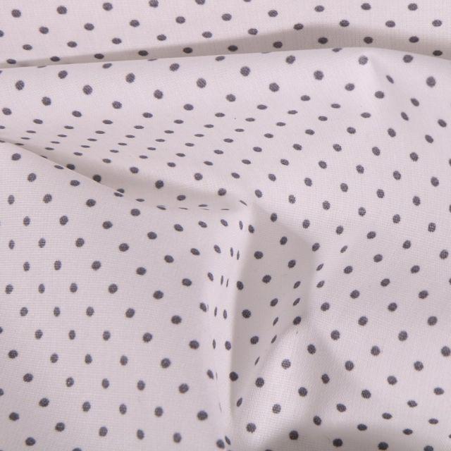 Tissu Coton enduit Petits pois gris sur fond Blanc - Par 10 cm