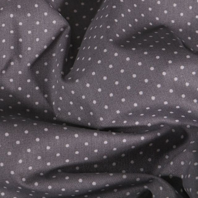Tissu Coton enduit Petits pois blancs sur fond Gris foncé - Par 10 cm
