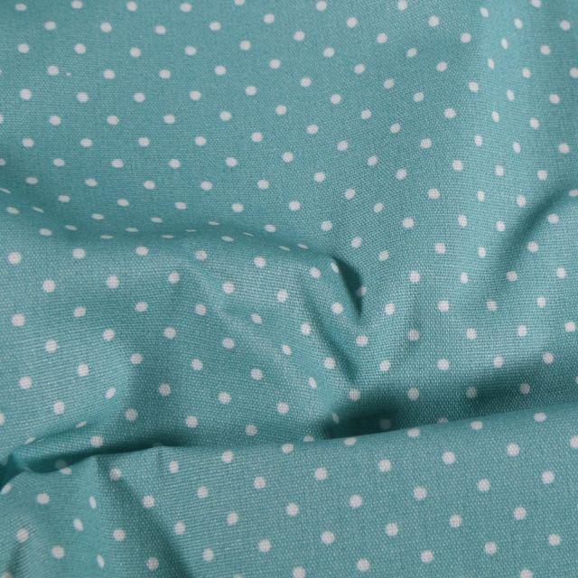 Tissu Coton enduit Petits pois blancs sur fond Bleu - Par 10 cm