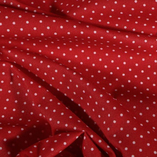 Tissu Coton enduit Petits pois blancs sur fond Rouge - Par 10 cm