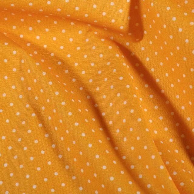 Tissu Coton enduit Petits pois blancs sur fond Jaune - Par 10 cm