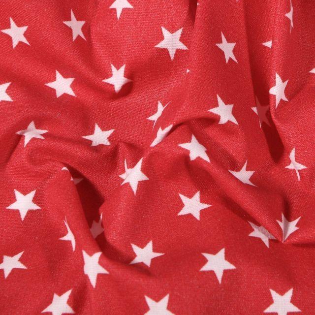 Tissu Coton enduit Etoiles blanches sur fond Rouge - Par 10 cm