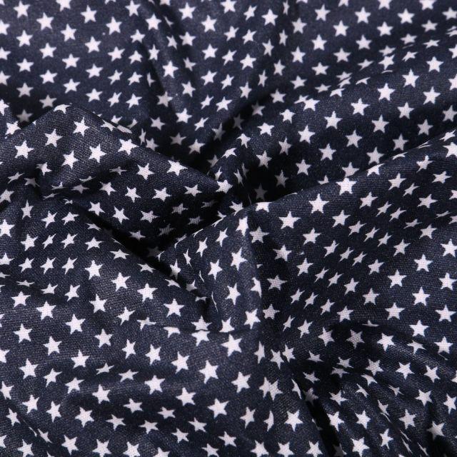 Tissu Coton enduit Mini étoiles blanches sur fond Bleu marine - Par 10 cm